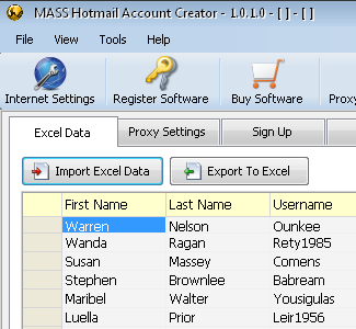 MASS Hotmail Account Creator software screenshot